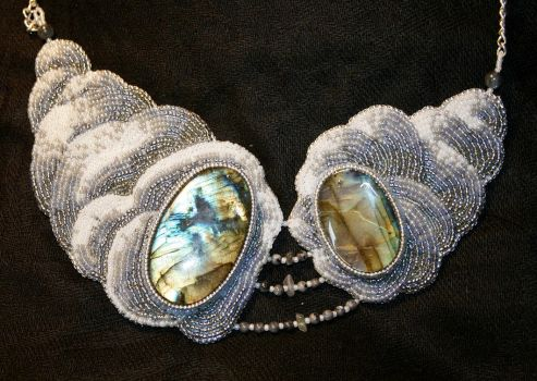 Labradorite Clouds Necklace by Tomaka