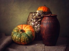Still life with pumpkins and garlic by Daykiney