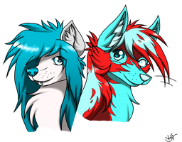 Commission #2 for Roxeu - Mandy and Anxiety by OmbraniWolf