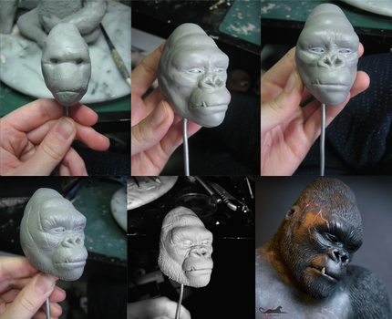 :.Kong's face - WIPS.: by XPantherArtX