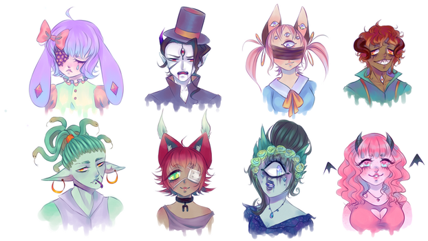 Colourful Monster Headshot Adopts 2/8 OPEN by CultivatedRose