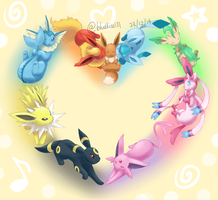 I Love Eevee Family by BluuKiss
