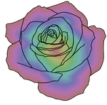 Rainbow Rose (Lineart by Blood-Huntress) by Amatao