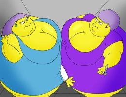 Selma and Patty's elevator of crushing REMAKE by Robot001