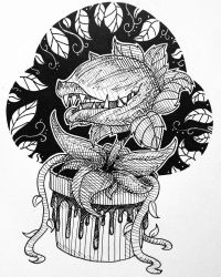 Inktober Day 5 : Little Shop of Horrors by LodiDotesArts