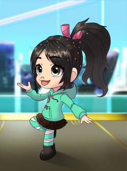 Remake old drawing - Vanellope (with background) by summilly