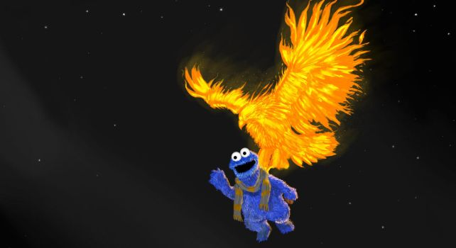 Cookie Monster and the Phoenix by RedGeOrb