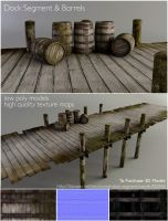 Dock and Barrels   3D for Sell by Alanise