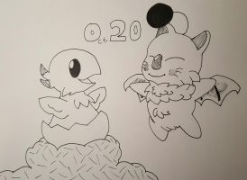 Inktober 2016 Day 20: Chocobo and Moogle by baron-von-jiggly
