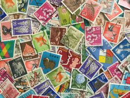 Vintage Japanese Postage Stamps by Yesterdays-Paper