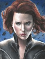 Black Widow (colored pencils) by MayTheForceBeWithYou