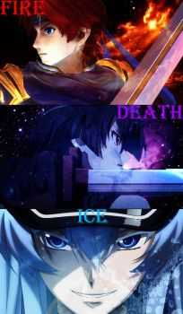 Fire (Roy) Death (Akame) and Ice (Esdeath) by alienskiller1