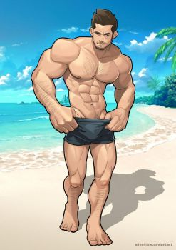 Beach Hunk by silverjow