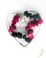 Coral and garnet heart by Rolary