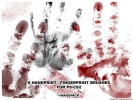 8 Handprint Brushes for PS CS2 by wickedjess