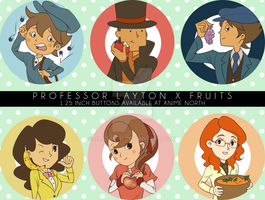 Professor Layton buttons! by alicenpai