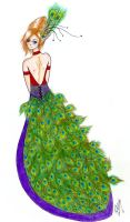 Peacock dress by DragonetteTheDragon