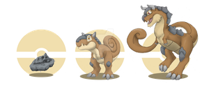 Fakemon - Fossils - HS Fossil, Chamalf, Bashull by GenevieveMeuniere