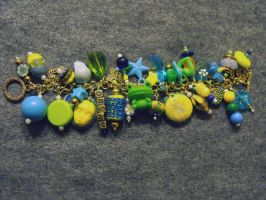 Blue Green and Yellow Charm bracelet by mintdawn