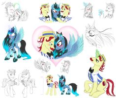 Shiver, Flim, and Flam Sketch Dump by AlicornParty