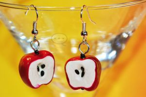 clay apples earings by cihutka123