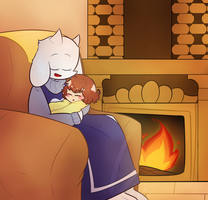Toriel and Peaceful Chara Commission by Valkavava