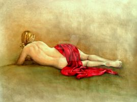 back nude with red scarf by rogerioarte