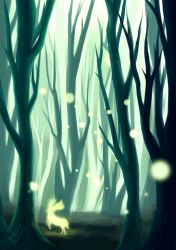 Forest With Green Light by elainechen