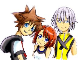 _Sora, Kiari ,and Riku_ by Umbra-Flower