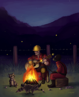 Engie And Pyro By The Fire by AcidicGumdrops