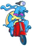 Blue dog / red vespa by OctoflyArt