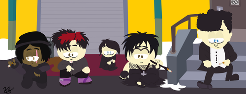 Hanging out with the Goth Kids by Noizy-Bunny