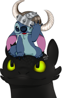 stitch and toothless by SahGlam29