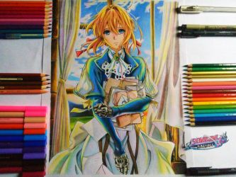 Drawing - Violet Evergarden With Background by kaium724