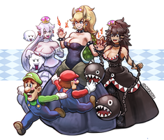 Bowsette Boosette and Chompette - Super Mario Bros by Clockweiz