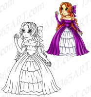Digi Stamp Coloring page of Pretty Princess by Peipei22
