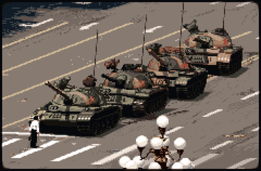 History in Pixels - 1989 - Tank Man Pixel Art by gas01ine