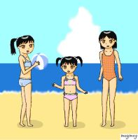 Anim: Sisters on the Beach by gomyugomyu