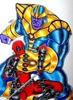 Deadpool vs Thanos by RedWing99