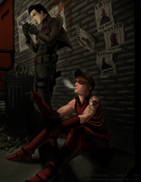 Red Hood and Arsenal : Smoke Break by asphillipsart