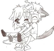 Kitty and Wolf Cuddle by Dj-Picis