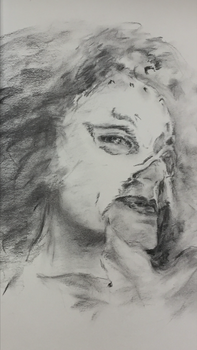 Jill Thompson Portrait, charcoal, unfinished by PaintedLiLy