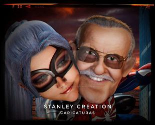Stan Lee runing away with spider woman by Stanley-ontheroad