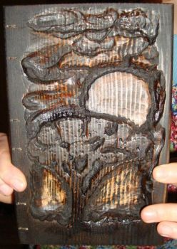 Carved wood bound book, African Landscape by chesterhubbard
