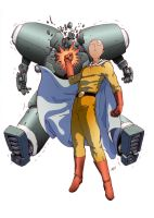 One Punch Man versus robot by papillonstudio