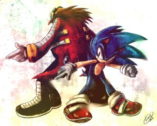 Sonic and Eggman by LeonS-7