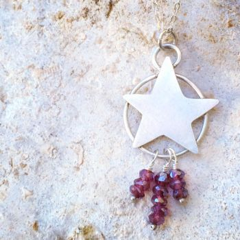 Garnet Pentagram Necklace  by MoonLitCreations