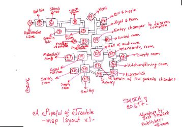 Dungeon map layout sketch for A Pipeful Of Trouble by ThaumielNerub