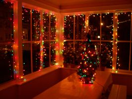 Red holiday lights on glass windows by caspercrafts