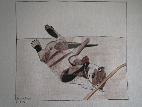 Otter with rock in mixed media by Justyn16